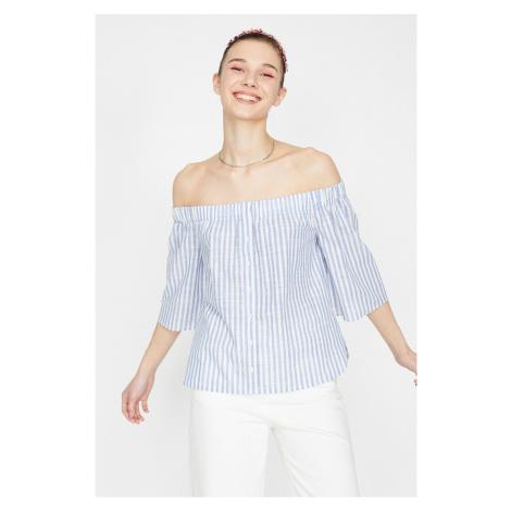 Koton Women's Blue 3/4 Sleeve Shoulder Open Button Detailed Striped Blouse