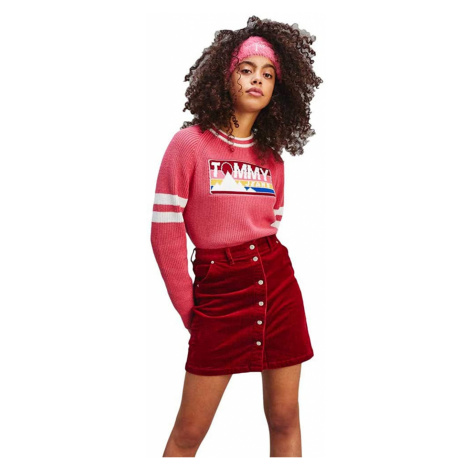 Tommy Hilfiger Tommy Jeans dámská červená manžestrová sukně TJW CORD BUTTON THRU SKIRT