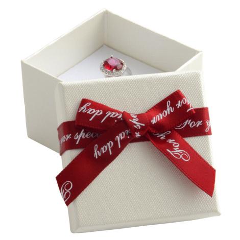 JKBOX Papírová krabička s bordó mašlí Special Day na náušnice nebo prsten IK009