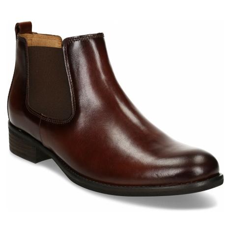 Hnědá kotníková dámská kožená obuv Gabor