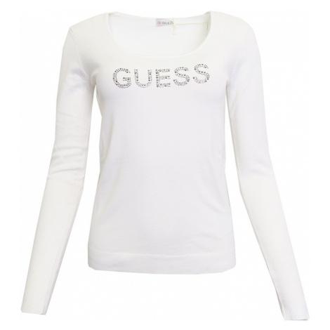 Bílý svetřík s logem Guess