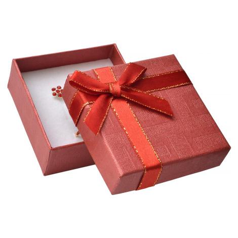JKBOX Červená papírová krabička s mašlí se zlatým okrajem na malou sadu IK008