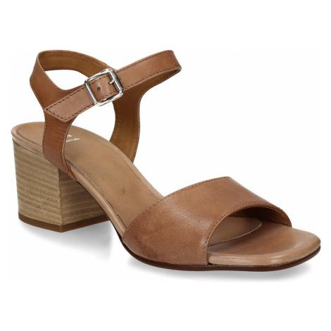 Hnědé celokožené dámské sandály na podpatku Baťa
