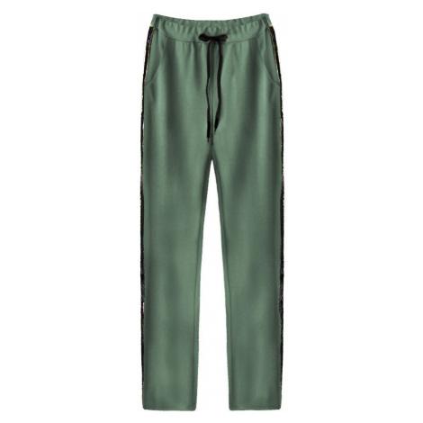 Zelené bavlněné kalhoty s flitrovými lampasy (210ART) Made in Italy