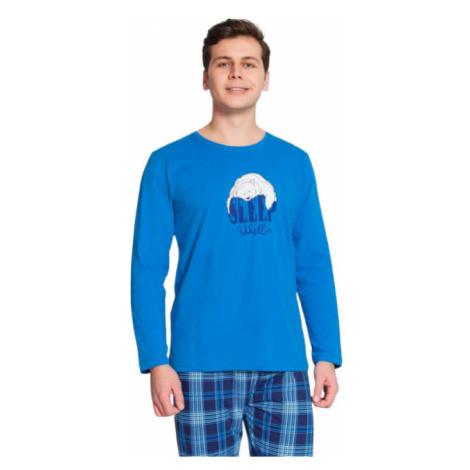 Pánské pyžamo dlouhé Vienetta Secret Sleep well | zelená