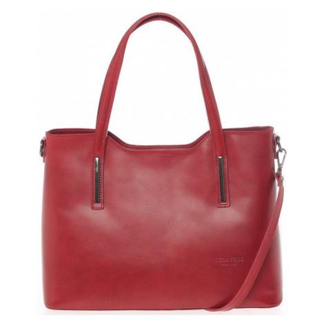 Italy Větší kožená kabelka červená - Sandy Červená