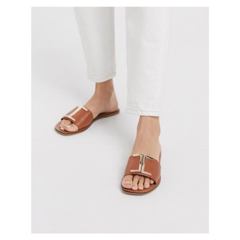 ASOS DESIGN Factor leather flat sandals in tan