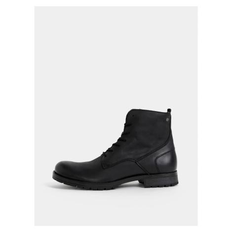 Černé pánské kožené boty Jack & Jones Worca