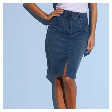 Blancheporte Džínová sukně s rozparkem modrá
