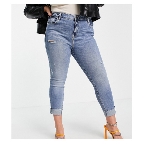 River Island Plus Amelie mid rise ripped jeans in medium blue