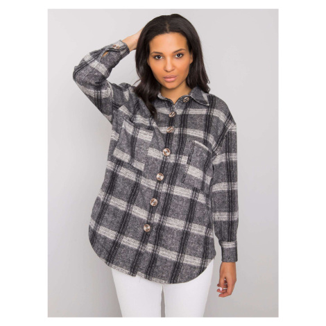 Tmavě šedá kostkovaná dámská košile FPrice