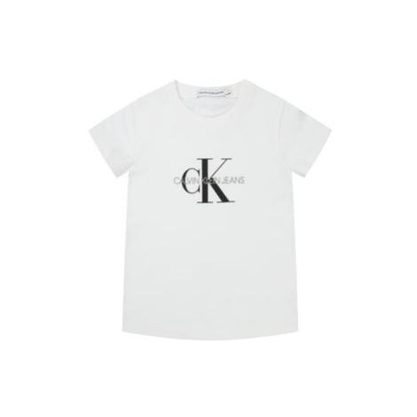 Calvin Klein Jeans T-Shirt Monogram Logo IU0IU00068 Bílá Regular Fit