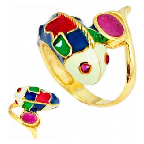 AutorskeSperky.com - Stříbrný prsten ryba s rubínem - S2987