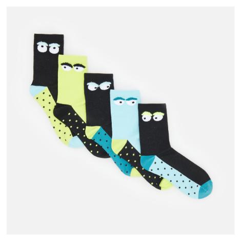 Reserved - Sada 5 párů vzorovaných ponožek - Zelená