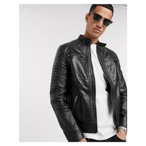 Barneys Originals real leather 4 pocket biker jacket-Black