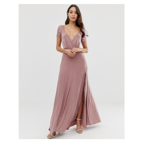 ASOS DESIGN Scallop Lace Top Pleated Maxi Dress-Pink