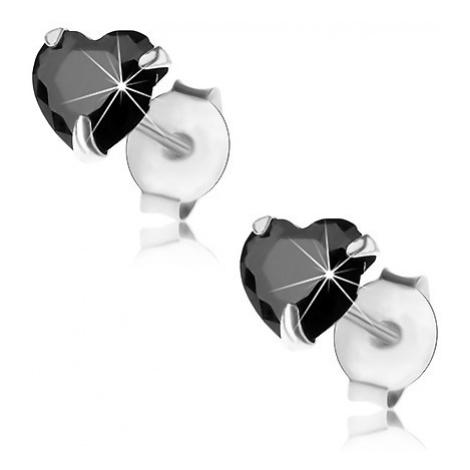 Náušnice ze stříbra 925, puzetky, černý broušený zirkon - srdíčko, 5 mm Šperky eshop