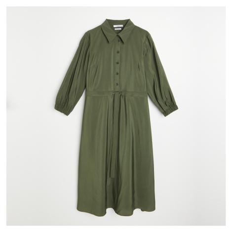 Reserved - Košilové midi šaty - Khaki