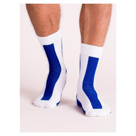 Pánské bílé a modré pruhované ponožky FPrice