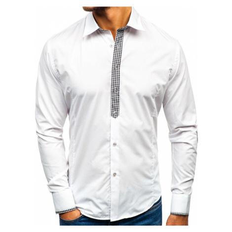 fcd4dbcf6d3 Bílá pánská elegantní košile s dlouhým rukávem Bolf 7197