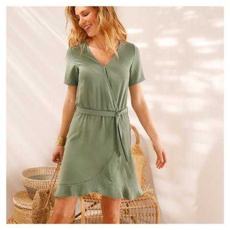 Blancheporte Volánové jednobarevné šaty s efektem překřížení khaki