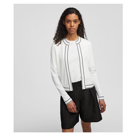 Svetr Karl Lagerfeld All-Over Logo Cardigan - Bílá