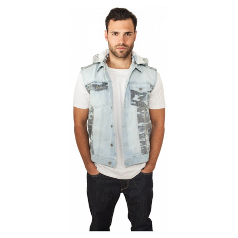 Hooded Camo Denim Vest Urban Classics