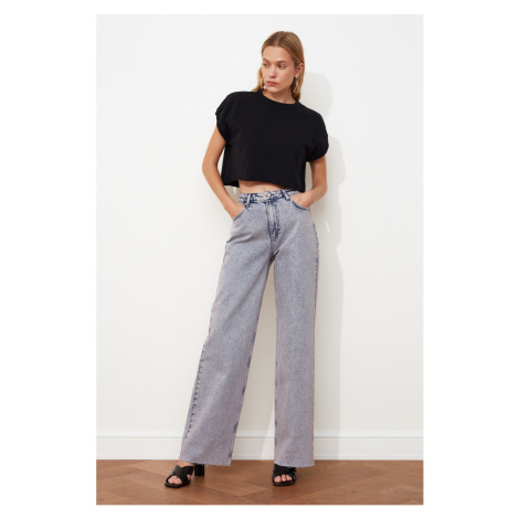 Trendyol High Waist Wide Leg Jeans WITH Lilac Wash Effect Leg Cut