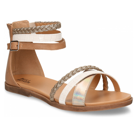 Zlaté dětské kožené sandály Bullboxer