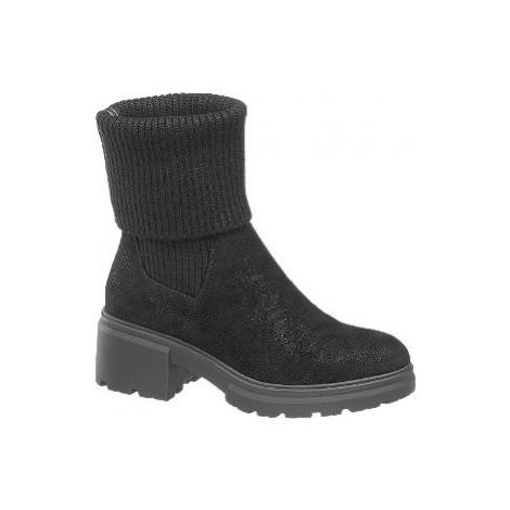 Černé ponožkové kozačky Catwalk