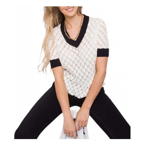 Smetanové dámské pletené tričko s černými okraji Rue Paris