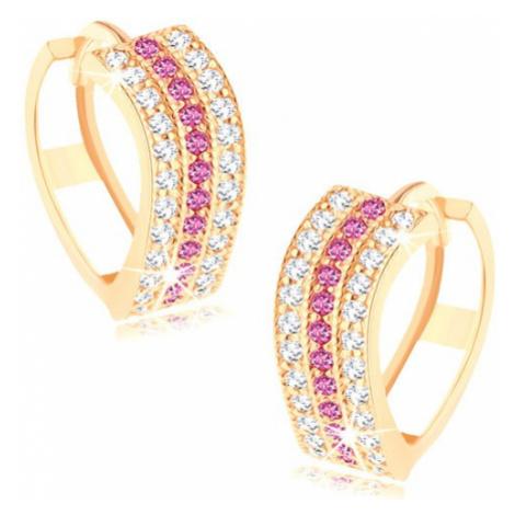 Kruhové náušnice ve žlutém 14K zlatě - zvlněné linie z čirých a růžových zirkonků Šperky eshop