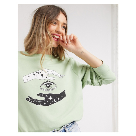 Daisy Street oversized sweatshirt with fortune teller graphic in mint-Green