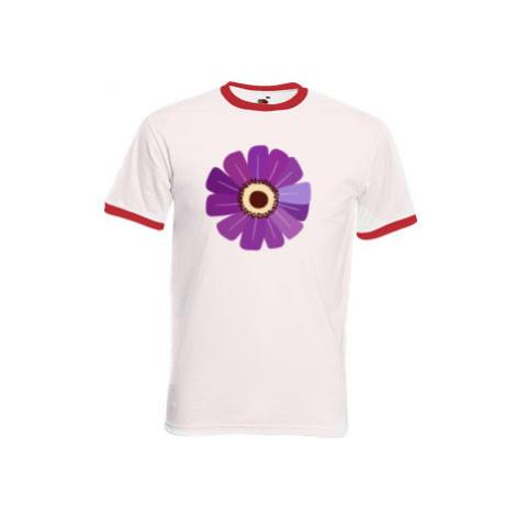 Pánské tričko s kontrastními lemy Květina