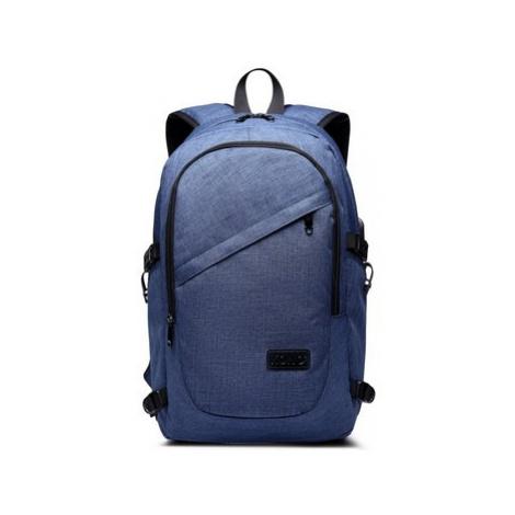 Kono modrý moderní elegantní batoh s USB portem UNISEX Modrá