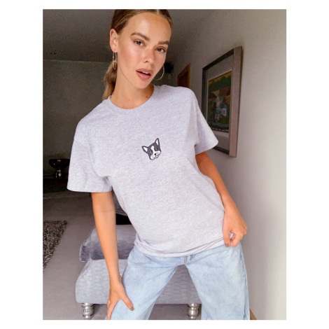 New Love Club embroidered puppy t-shirt in oversized fit-Grey