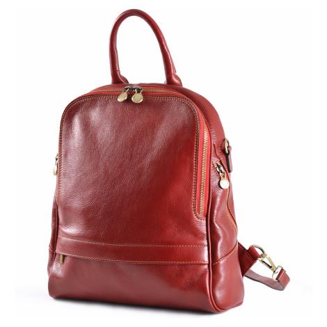 Klasický dámský kabelko-batoh kožený červený, 29 x 11 x 33 (6516-00)
