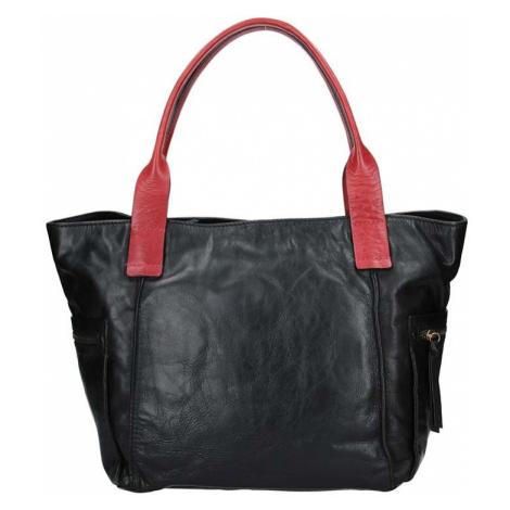 Dámská kožený kabelka Lagen Lorna - černo-červená