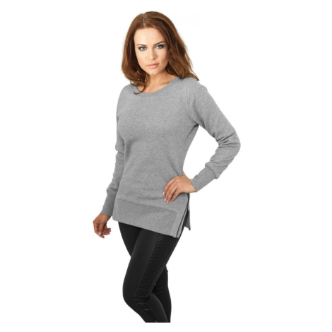 Ladies Side Zip Long Crewneck - grey Urban Classics