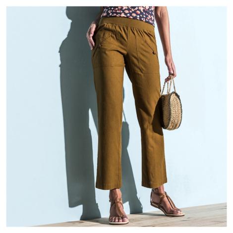 Blancheporte 7/8 kalhoty len/bavlna havana
