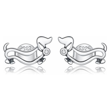 Linda's Jewelry Stříbrné náušnice Jezevčík Pecky Ag 925/1000 IN222