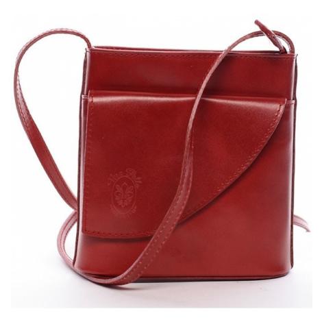 Italy Dámská kožená crossbody kabelka červená - Cora Červená