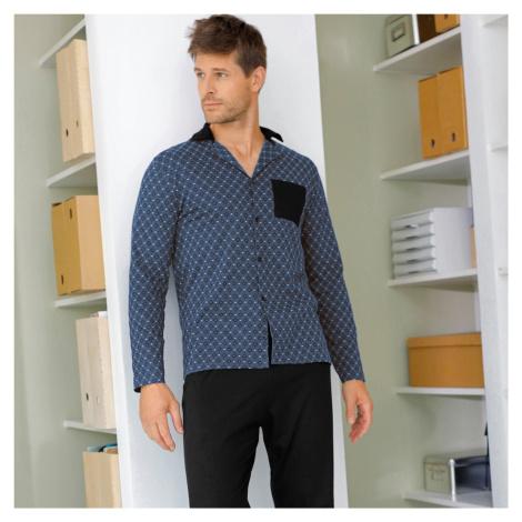 Blancheporte Pyžamo s košilí s dlouhými rukávy a kalhotami šedá/černá