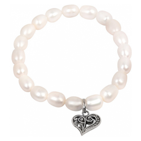 JwL Luxury Pearls Jemný náramek z pravých perel s kovovým srdíčkem JL0417