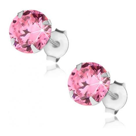 Náušnice ze stříbra 925, růžový kulatý zirkon, puzetové zapínání, 7 mm Šperky eshop