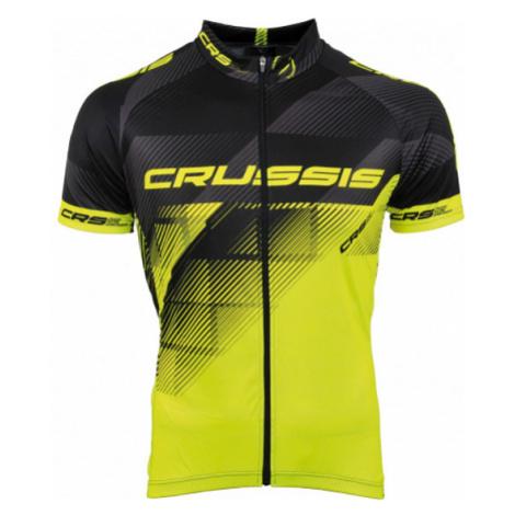 Cyklistický Dres Crussis Černá-Fluo Žlutá