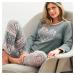 Blancheporte Fleecové pyžamo s aplikací srdce šedá/růžová