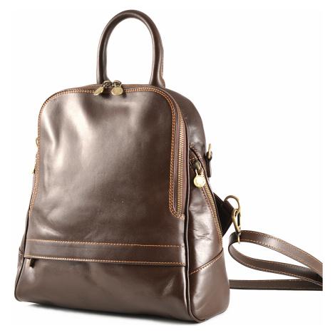 Klasický dámský kabelko-batoh kožený tmavě hnědý, 29 x 11 x 33 (6516-93)