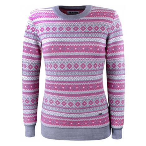 Dámský svetr KAMA 100% Merino - Norský vzor 5024 - šedý/ružový ()