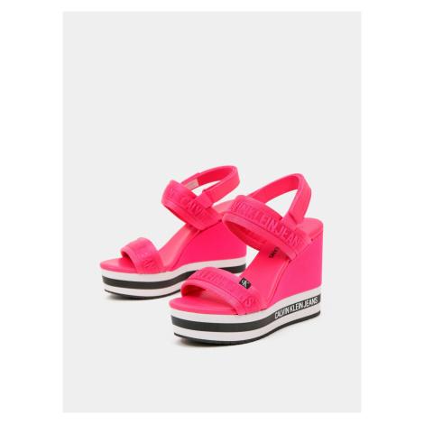 Calvin Klein růžové boty na klínku Wedge Sandal Sling